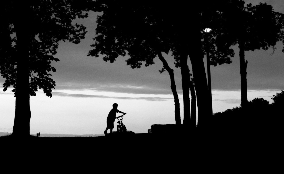 colin bike silhouette bw